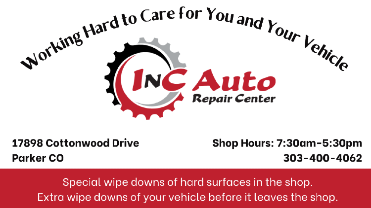InC Auto Repair Center offers special wipe downs of your vehicle before it leaves our Parker CO shop