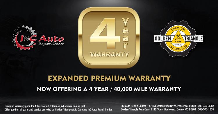 4yr 40k Mile Premium Warranty from InC Auto Repair Center Parker CO