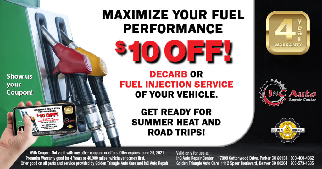 $10 Off Decarb or Fuel Injection Service at InC Auto Repair Center in Parker CO