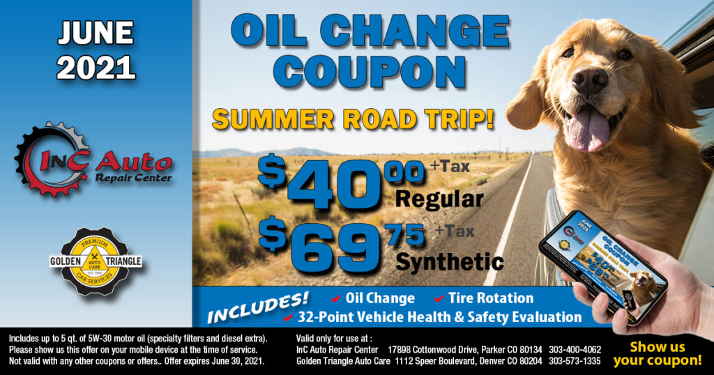 Parker CO Oil Change Deal $40 regular or $69.75 synthetic at InC Auto Repair Center valid thru 6-30-21