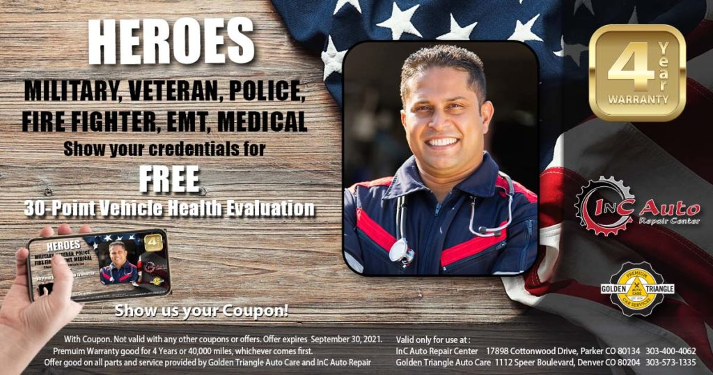 Parker CO Auto Shop offers free health & safety evaluations to credentialed heroes during the month of September 2021